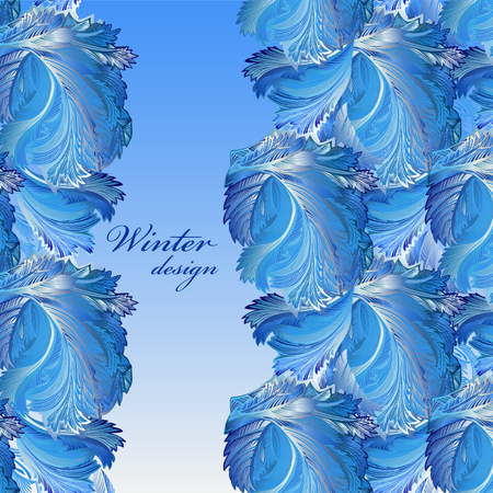 winter wedding: Winter blue frozen glass border background. Cold winter ice lace ornament, hoarfrost texture decor background. Blue verical border stripe pattern with text winter design. Vintage vector illustration. Illustration