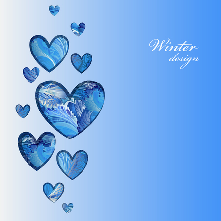 hoar frost: Love heart shape design with winter frozen glass background. Heart frame with cold winter ice ornament background and text winter design. Love card. Vector illustration.