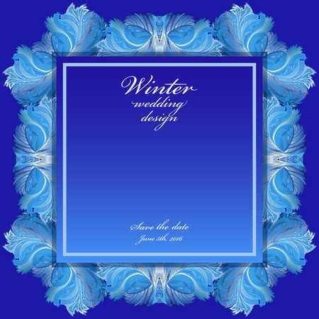 rime frost: Cold winter ice ornament wedding frame. Hoarfrost texture decor background. Winter blue frozen glass background. Blue border square and text winter wedding design and save date. Vector illustration.