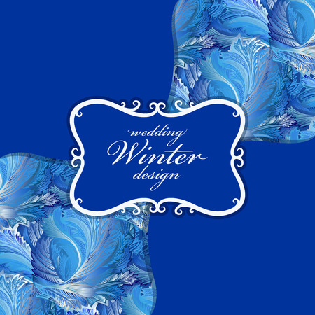 hoarfrost: Winter blue frozen glass pattern background. Vintage text label. Blue frost pattern with text winter wedding design. Cold winter ice ornament, hoarfrost texture decor background. Vector illustration.