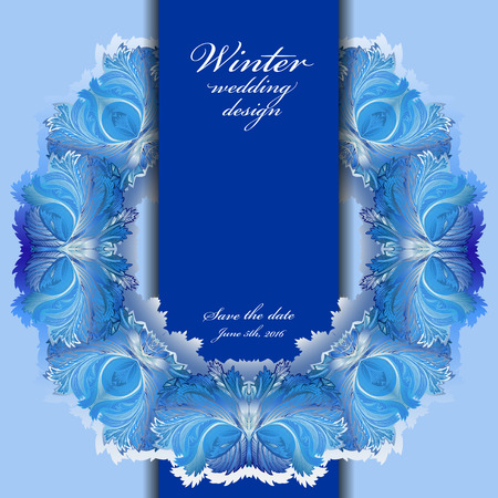 hoar frost: Winter circle wedding frame. Hoarfrost texture wreath border background. Winter blue frozen background. Blue circle template and vertical stripe and text winter wedding, save date. Vector illustration