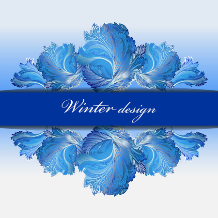 rime frost: Cold winter ice border ornament and center stripe with text winter design. Hoarfrost decor background. Winter blue frozen glass background. Blue and cyan horizontal vector background illustration.