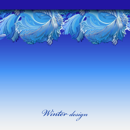 hoar frost: Cold winter ice ornament border stripe design. Hoarfrost decor background. Winter blue frozen glass background. Blue top horizontal vector background illustration and text winter design.