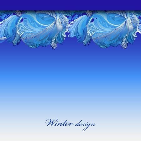 frozen glass: Cold winter ice ornament border stripe design. Hoarfrost decor background. Winter blue frozen glass background. Blue top horizontal vector background illustration and text winter design.