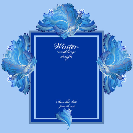 hoarfrost: Cold winter ice ornament wedding frame. Hoarfrost texture decor background. Winter blue frozen glass background. Blue square template and text winter wedding design and save date. Vector illustration.