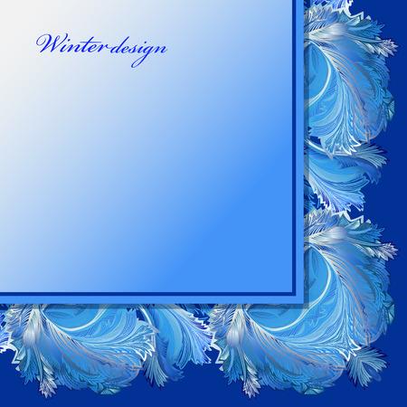 hoar frost: Cold winter ice ornament angle frame. Hoarfrost border decor background. Winter blue frozen glass background. Blue corner square frame and text winter design. Vintage vector illustration.