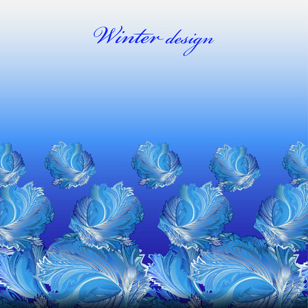 rime frost: Cold winter ice ornament elements in border design. Hoarfrost decor background. Winter blue frozen glass background. Blue bottom horizontal vector background illustration and text winter design.