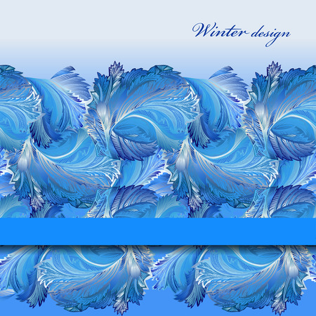 horizontal: Winter blue frozen glass background. Cold winter crystal lace ornament border background design. Blue horizontal stripe border design. Text place. Vintage vector illustration.