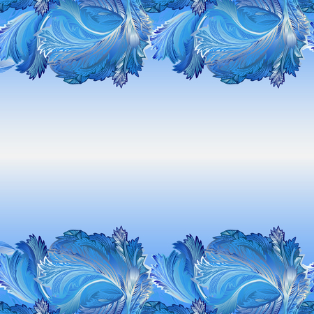 hoar frost: Winter blue frozen glass border background. Cold winter ice lace ornament, hoarfrost texture decor background. Blue border pattern illustration with text place. Vintage vector background.