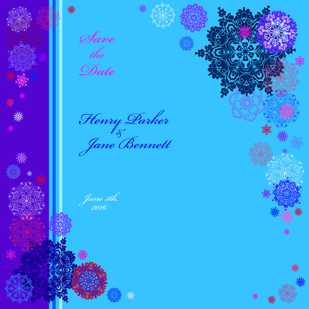 winter wedding: Winter snowy wedding frame with cyan, violet, blue and white snowflakes and stars and cyan and blue background. Square label design. Save date text place. Snowfall vintage vector illustration.