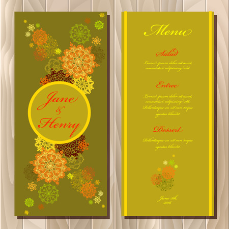 winter wedding: Wedding menu card with red, gold, yellow snowflakes and stars and green and pistachio background. Printable abstract vertical design set. Vector illustration.