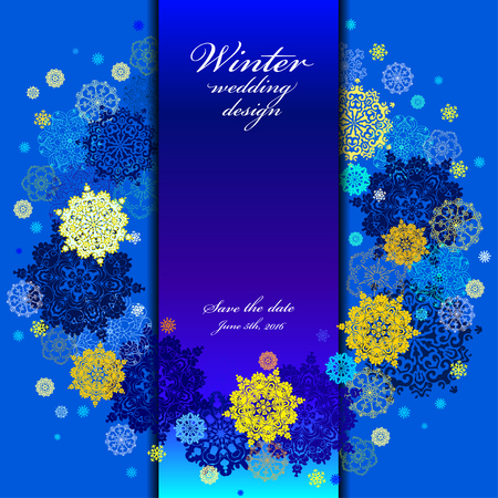 winter wedding: Winter wedding snowflakes wreath background with cyan, gold, blue snowflakes and stars and blue background. Snowfal design. Winter wedding design and save date text. Vintage vector illustration