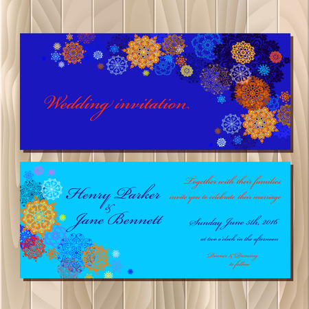 blue card: Winter printable design set. Horizontal wedding invitation card. Red, pink, gold, blue and white snowflakes and stars and dark blue background.  Vector illustration. Illustration