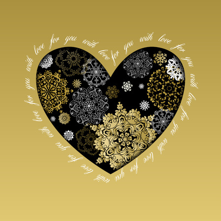 love gold: Hand drawn winter heart design with text  Illustration