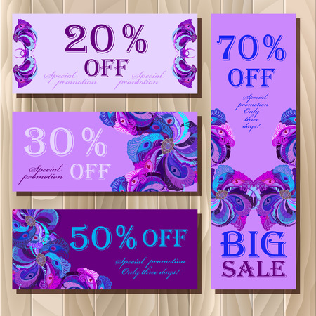 free border: Big sale, discount card, gift certificate or voucher, coupon template with peacock feathers. Holiday background mock for banner or ticket. Violet, blue, purple design. Vector illustration.
