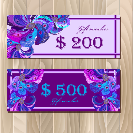 free border: Gift certificate, discount card, big sale or voucher, coupon templatewith peacock feathers. Holiday background mock for banner or ticket. Violet, blue, purple design. Vector illustration. Illustration