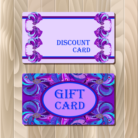 vintage border: Discount card, big sale, gift certificate or voucher, coupon templatewith peacock feathers. Holiday background mock for banner or ticket. Violet, blue, purple design. Vector illustration. Illustration