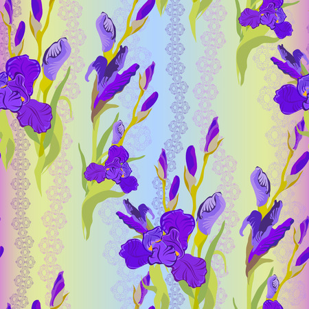 purple iris: Floral seamless pattern. Lilac, violet, purple iris flower background. illustration of iris. Seamless pattern for printing textile, wallpaper, wrapping gift paper, texture for fabric