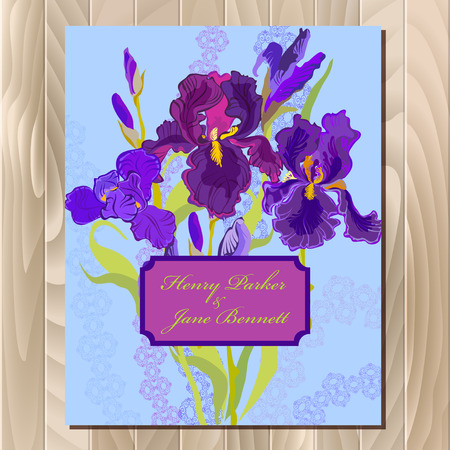 iris: Wedding background with lilac, violet, purple iris flower background. Iris bouquet  illustration. Printable vertical design backgrounds set. Save the date text place.