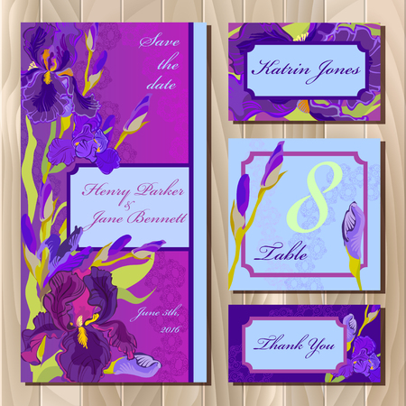 iris: Iris flower and lace printable wedding design set. Wedding invitation card, table number, guest card. Violet purple iris flower background. Iris bouquet illustration. Save date, thank you text.