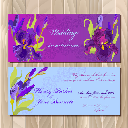 iris: Wedding invitation card with lilac, violet, purple iris flower and lace background. Iris bouquet   illustration. Printable horizontal design backgrounds set. Save the date text place. Illustration