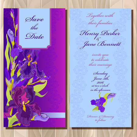 iris blossom: Wedding invitation card with lilac, violet, purple iris flower and lace background. Iris bouquet illustration. Printable vertical design backgrounds set. Save the date text place. Illustration