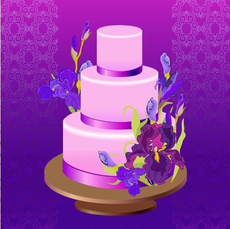 iris: Wedding cake with lilac, violet, purple iris flowers.  wedding dessert. Iris bouquet illustration. Violet damask background. Wedding illustration. Illustration