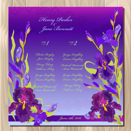 iris blossom: Iris flower wedding guest list for table. Purple iris flower and lace background. Iris bouquet  illustration. Printable wedding design blank template.