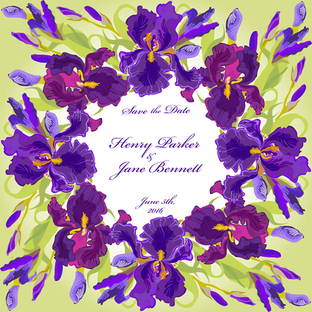 Wedding card with lilac, violet, purple iris flower wreath background. Iris bouquet  illustration. Printable circle design on square background. Save the date text place. Иллюстрация