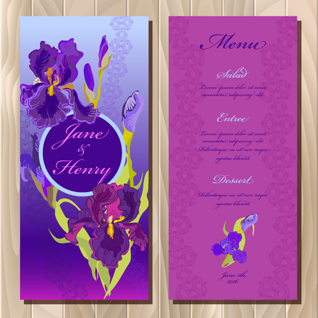 iris: Wedding menu card with iris flowers and lace stripe, background. Iris printable backgrounds set. Violet, blue, purple vertical vignette design.  Bride and groom name place.