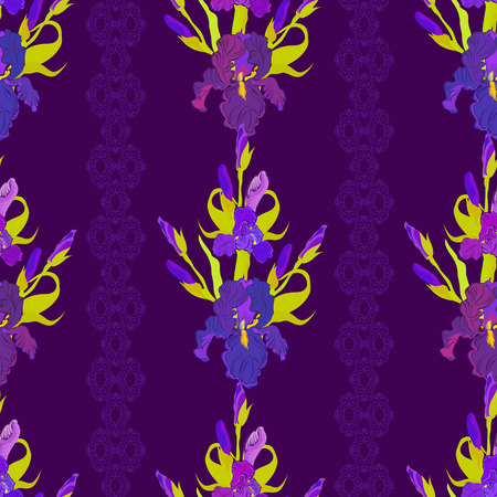iris: Floral seamless pattern. Lilac, violet, purple iris flower background. Illustration