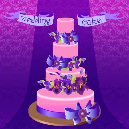 iris: Wedding cake with lilac, violet, purple iris flowers. Beautiful wedding dessert.  Illustration
