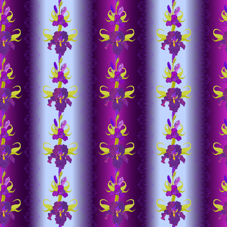 iris flower: Floral seamless pattern. Lilac, violet, purple iris flower background. Illustration