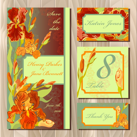guest: Iris flower and lace printable wedding design set. Wedding invitation card, table number, guest card. Red orange iris flower background. Iris bouquet vector illustration. Save date, thank you text. Illustration