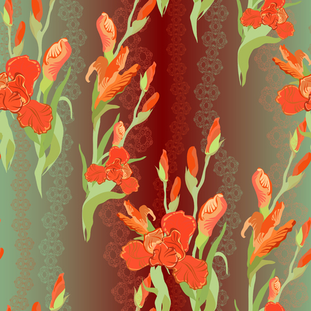 iris: Floral seamless pattern. Red, green, brown iris flower background. Hand drawn vector illustration of iris. Seamless pattern for printing textile, wallpaper, wrapping gift paper, texture for fabric