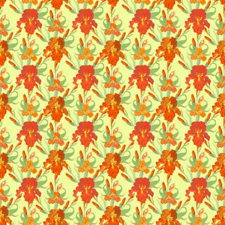 iris: Floral seamless pattern. Red, orange, green, brown iris flower background. Hand drawn vector illustration of iris. Seamless pattern for printing textile, wallpaper, wrapping gift paper, texture for fabric Illustration