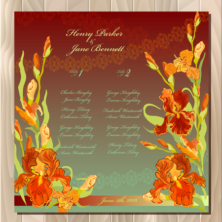 wedding guest: Iris flower wedding guest list for table. Red iris flower and lace background. Wedding red iris bouquet hand drawn vector illustration. Printable wedding design blank template. Vector illustration Illustration