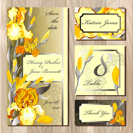 guest: Iris flower and lace printable wedding design set. Wedding invitation card, table number, guest card. Yellow orange iris flower background. Iris bouquet vector illustration. Save date, thank you text