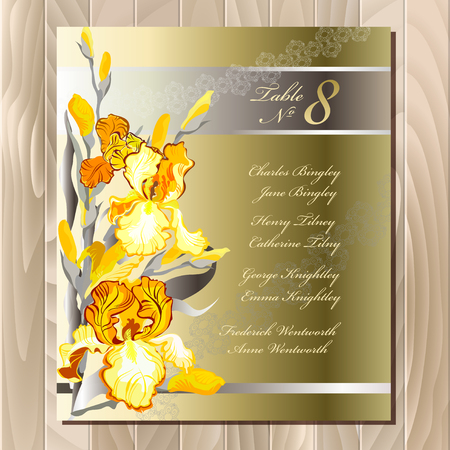 wedding guest: Iris flower wedding guest list for table. Yellow iris flowers and lace background. Wedding iris bouquet hand drawn vector illustration. Printable wedding design blank template. Vector illustration