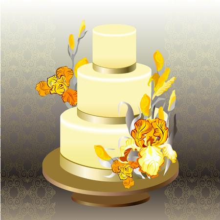 iris: Wedding cake with gold, orange, yellow iris flowers. Beautiful wedding dessert. Wedding yellow iris bouquet hand drawn vector illustration. Golden silver damask background. Wedding vector illustration Illustration