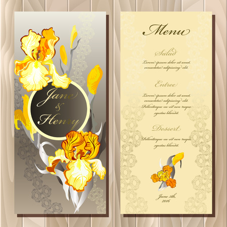 wedding table decor: Wedding menu card with iris flowers and lace stripe, vector background. Iris printable backgrounds set. Golden, orange yellow vertical vignette design. Vector illustration. Bride and groom name place. Illustration