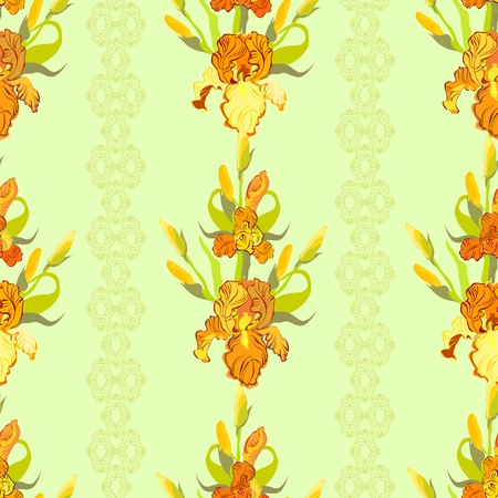 iris: Floral seamless pattern. Yellow orange, golden iris flower background. Hand drawn vector illustration of iris. Seamless pattern for printing textile, wallpaper, wrapping gift paper, texture for fabric Illustration