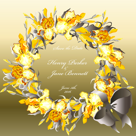 golde: Wedding card with golden, orange, yellow iris flower wreath on silver background. Iris bouquet hand drawn vector illustration. Printable circle design on square background. Save the date text place.
