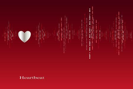 caes: Ca�da en el amor del coraz�n late cardiograma dise�o. ondas de sonido verticales ritmos con te amo texto. rojo de San Valent�n amor fondo de la tarjeta. Coraz�n en el amor canci�n de fondo de dise�o. ilustraci�n vectorial