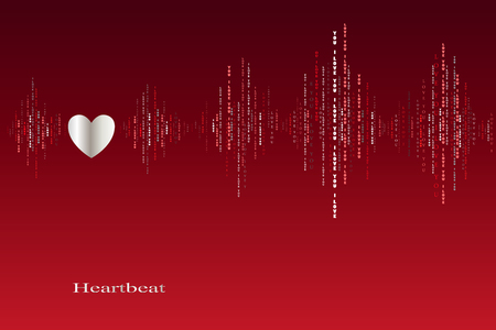 love song: Fall in love heart beats cardiogram design. Vertical sound waves rhythms with i love you text. Red valentines love card background. Heart in love song design background. Vector illustration Illustration