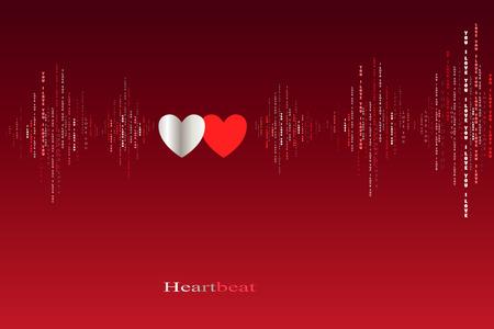 caes: Enamórate de dos corazones late cardiograma diseño. ondas de sonido verticales ritmos con te amo texto. rojo de San Valentín amor fondo de la tarjeta. Corazones en el amor canción de fondo de diseño. ilustración vectorial