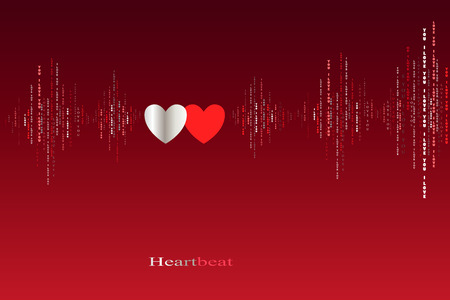 caes: Fall in love two hearts beats cardiogram design. Vertical sound waves rhythms with i love you text. Red valentines love card background. Hearts in love song design background. Vector illustration