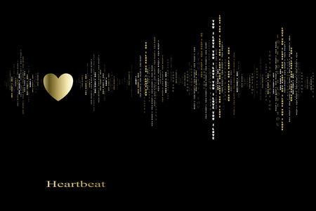 caes: Ca�da en el amor del coraz�n del oro super� dise�o cardiograma. ondas de sonido verticales ritmos con te amo texto. Negro oro San Valent�n tarjeta de amor fondo del coraz�n en el amor canci�n de dise�o de fondo Ilustraci�n del vector Vectores