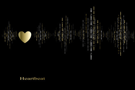 sound card: Fall in love gold heart beat cardiogram design. Vertical sound waves rhythms with i love you text. Black gold valentines love card background Heart in love song design background Vector illustration Illustration