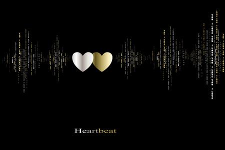 caes: Enamórate de dos corazones late cardiograma diseño. ondas de sonido verticales ritmos con te amo texto. Negro oro San Valentín Corazones de fondo tarjeta de amor en la canción de amor de fondo de diseño Ilustración del vector Vectores